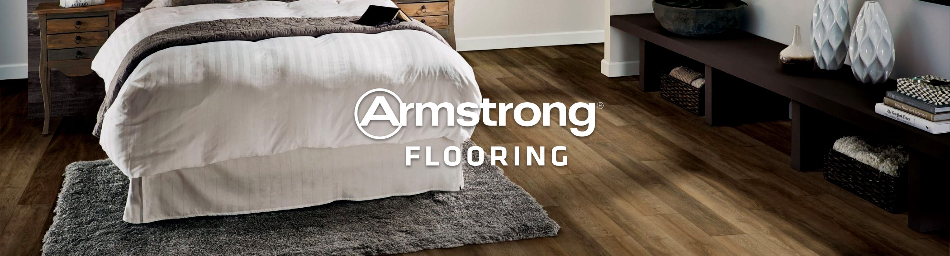 Armstrong Flooring logo with Armstrong Flooring in bedroom