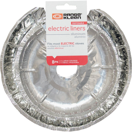 Range Kleen Round Aluminum Foil Electric Stove Bib Liners (8-Pack)